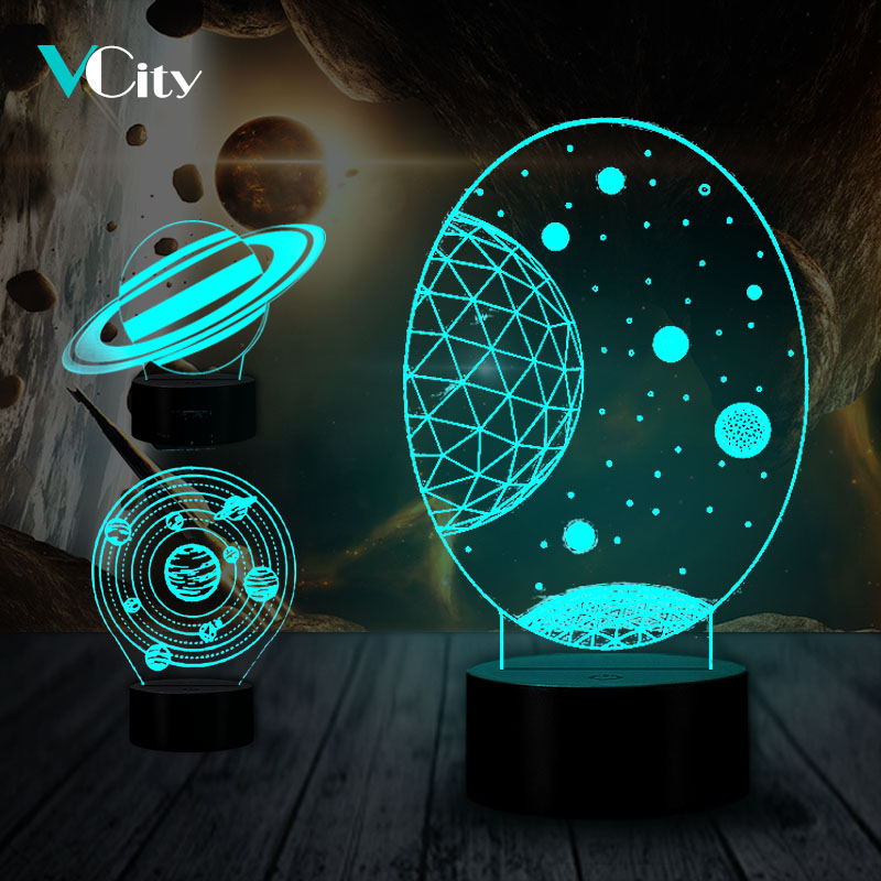 VCity Milky Way Solar System 3D Atmosphere Lamp LED Bulb Nightlight Novelty Lighting Hologram Illusion Unique Lamp Home Decora