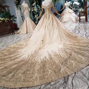 Image 3 - HTL786 elegant long evening gown 2020 sequined off shoulder sweetheart golden lace dresses evening vestidos de noche elegantes