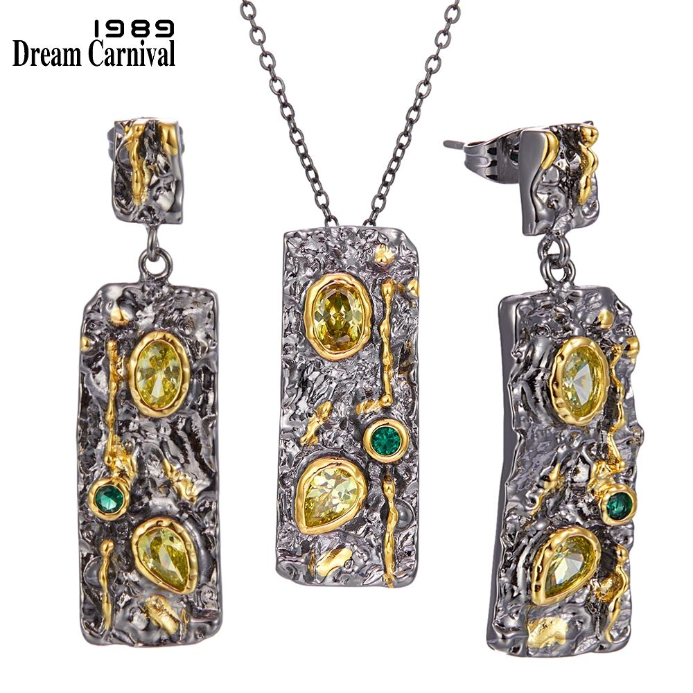 DreamCarnival1989 Gothic Earrings Necklace Jewelry Set for Women Stone Age Collection Strong Character Olivine Green CZ EP3990S2(China)