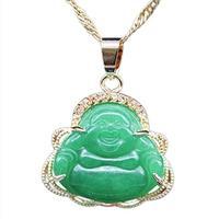 EASTCODE Luck Happy Green JadeES Buddha Pendant AAA CZ Laughing Buddha Statue Necklace Pendant