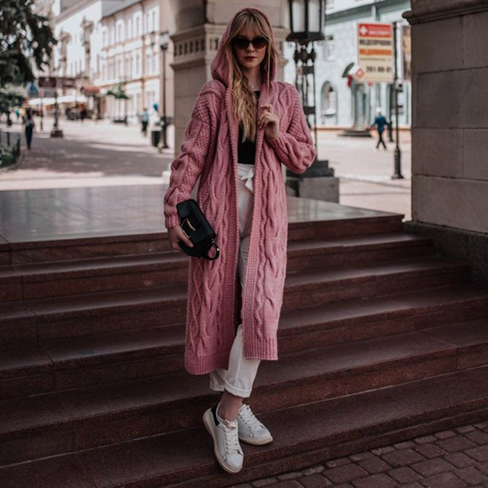 Winter Women Causal Solid Open Stitch Long Female Sweater Knitted Cardigans Oversized Loose Hooded Thick Outwear
