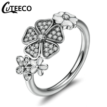 Cuteeco Hot Sale Pan Rings Silver White Flower Poetic Daisy Cherry Blossom Finger Ring For Women #6 7 8 9 Size Jewelry