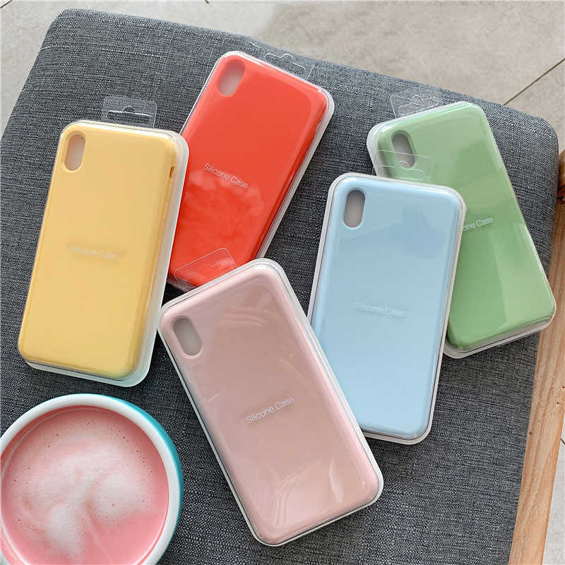 Original Official Silicone Case For iPhone 7 8 Plus Back Cover For Apple iPhone X XS max XR 11 11 pro max 6 6S PLUS Case Cover