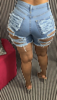 Hot Sale High Waist Ripped Denim Shorts For Women Fashion Sexy Stretch Shorts Jeans Trendy Skinny Shorts S-2XL drop shipping 1