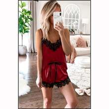 Lace satin pajamas new european sexy v neck sling in summer