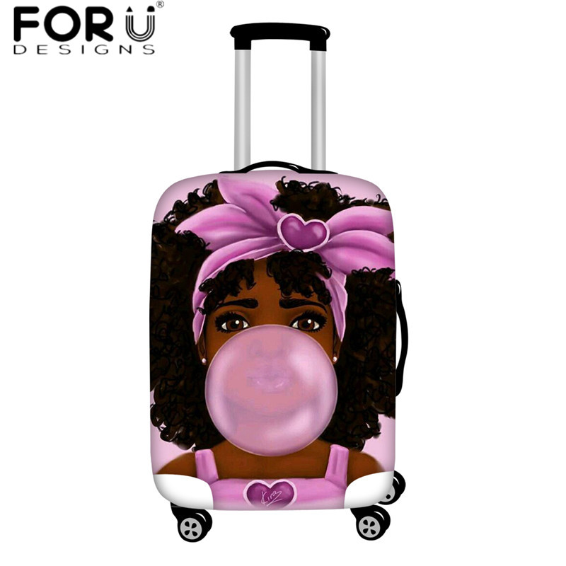FORUDESIGNS Africa Travel Luggage Cover African Women Afro Girls Print Elastic Thick Suitcase Cover Custom Leather Luggage Tag