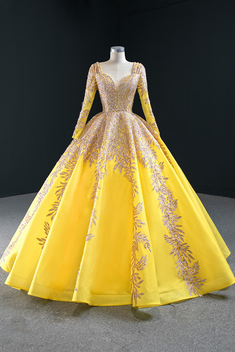 2020 Pageant Sweetheart Long Sleeve Full Length Yellow Ball Gown Prom Dress Prom Dresses Aliexpress