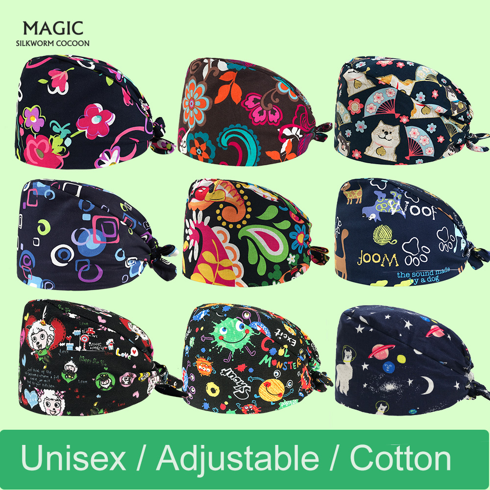 Wholesale Surgery Cap New Spring And Summer Multicolor Printing Operating Room Hats Lab Beauty Doctors Work Cap 100% Cotton New