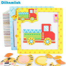 Children Cartoon 3D Magnetic Puzzle Vehicle/ Animal Spell Drawing Board Baby Montessori Early Educational Toys for Kids E CX100