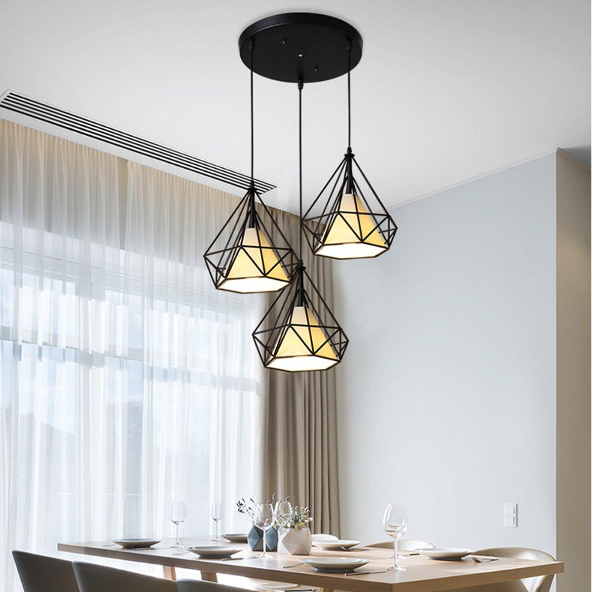 3 cabeças e27 moderna barra de luz pingente restaurante pendurado luminária decoração para casa chá padaria iluminação interior quadrado redondo - 2