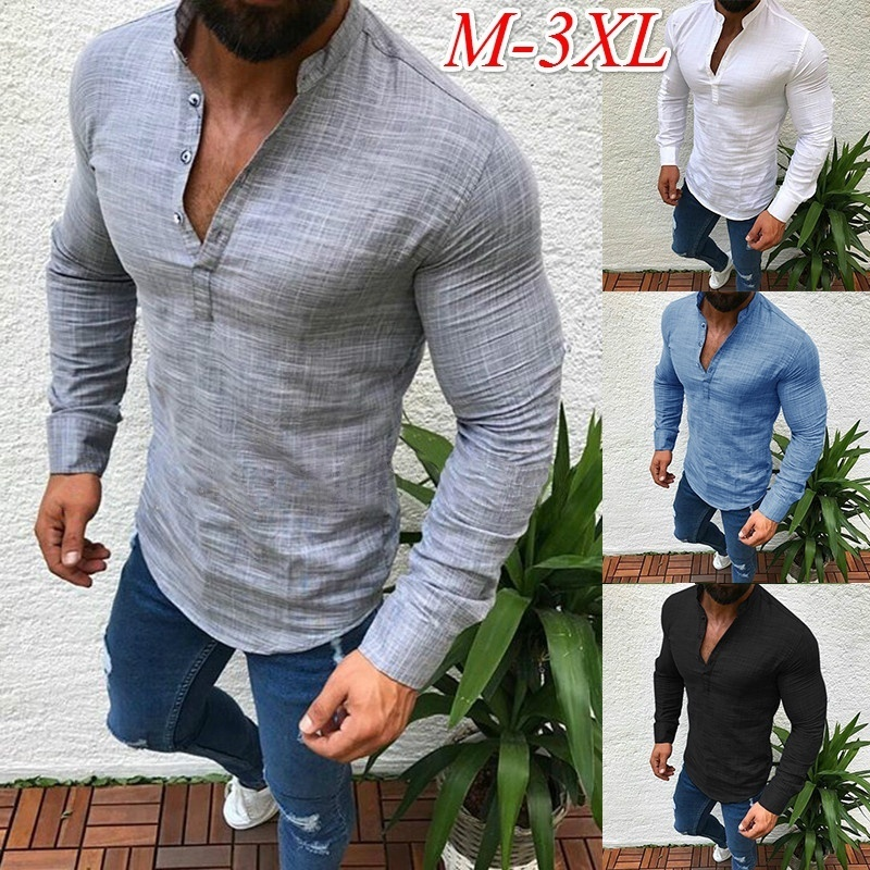ZOGAA Brand Men Shirts Long Sleeve Fashion Solid Button Up V Neck Shirt Spring Solid Business Casual Cotton Tops Shirts Men