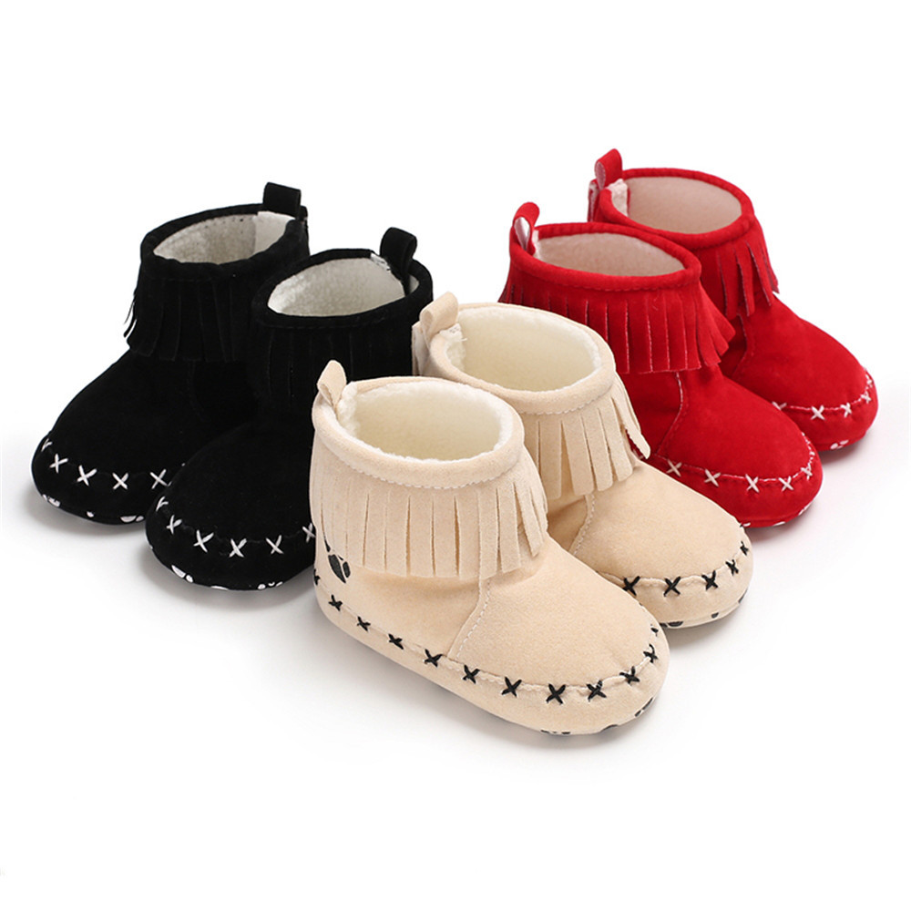 Toddler Baby Shoes First Walker Fringe Loop Cute Warm Indoor Shoes Christmas Gift Soft Soled Inner 11-13CM Walking Shoe
