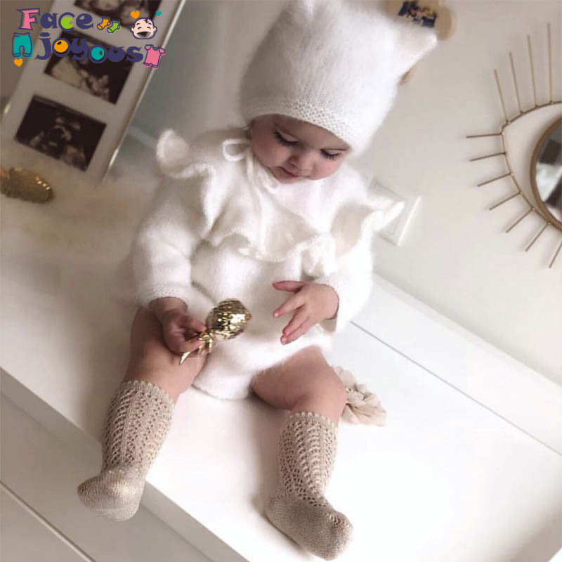 Knitted Baby Boys Girls Romper Cute Lotus Turn Down Collar Children Kids Baby Girls Rompers Knitted Girls Rompers With Hat