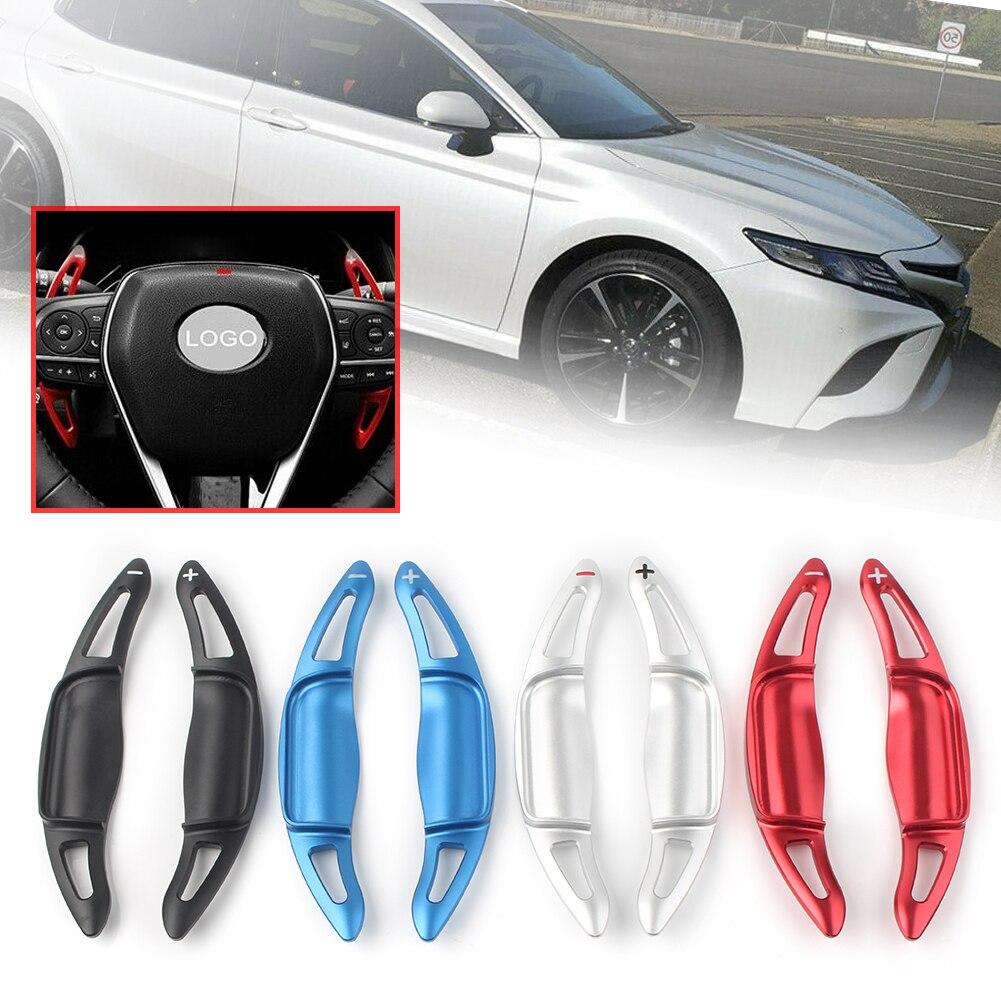 Para Toyota Camry 2018 2019, cambio de coche, palanca de cambios, volante DSG, cubierta de paleta modificada, pegatina con estilo, par de aluminio