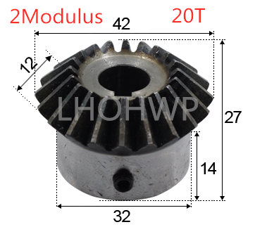 Manufacturer 1:1 bevel gear 2 modulus gear 20 tooth ID = 8/10 / 12/14 / 16 / 17 / <font><b>18</b></font> / 19/ 20mm <font><b>90</b></font> degree with screw steel gear image