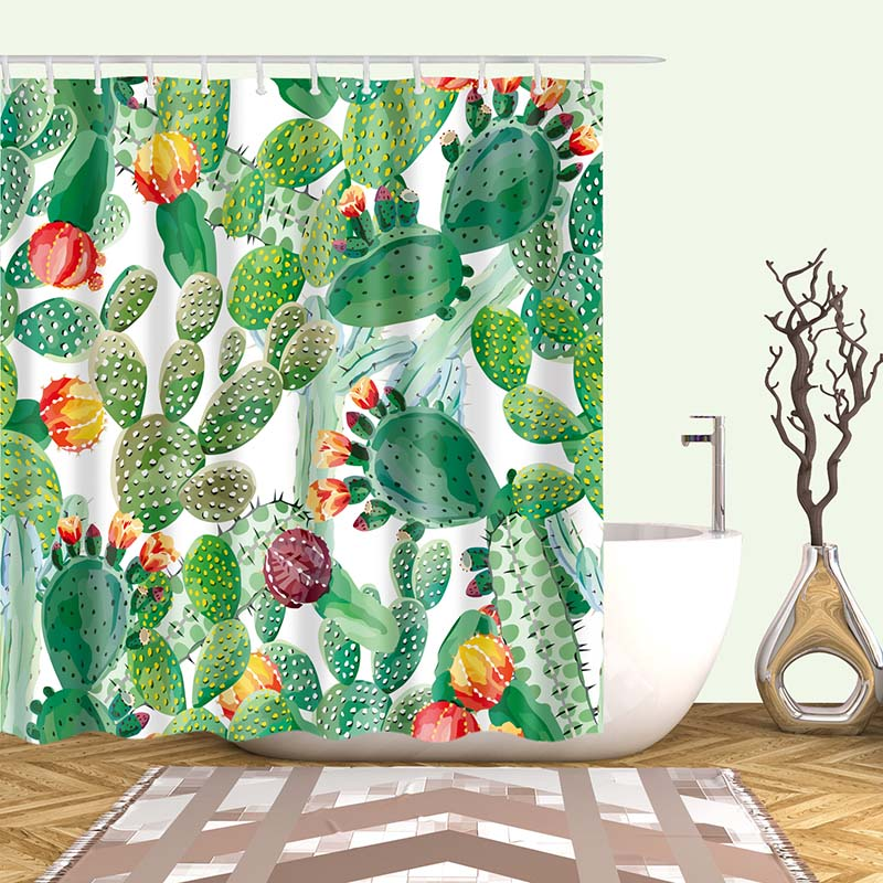 Тропический кактус, занавеска для душа, полиэфирная ткань, занавеска для ванной комнаты, украшения для ванной комнаты, мульти-размер, занавеска для душа с принтом s - Цвет: 16