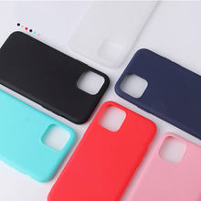 Solid Color Silicone Couples Cases For iphone 11 XR X XS Max 6 6S 7 8 Plus Cute Candy Color Soft Simple Fashion Phone Case(China)
