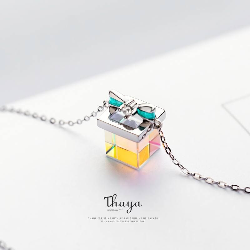 Thaya Color Light Bow Gift Necklace 925 Silver Bohemia Interesting Color Prism Necklace for Women Special Design Jewelry(China)