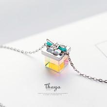 Thaya couleur lumière arc cadeau collier 925 argent bohême intéressant couleur prisme collier pour les femmes conception spéciale bijoux