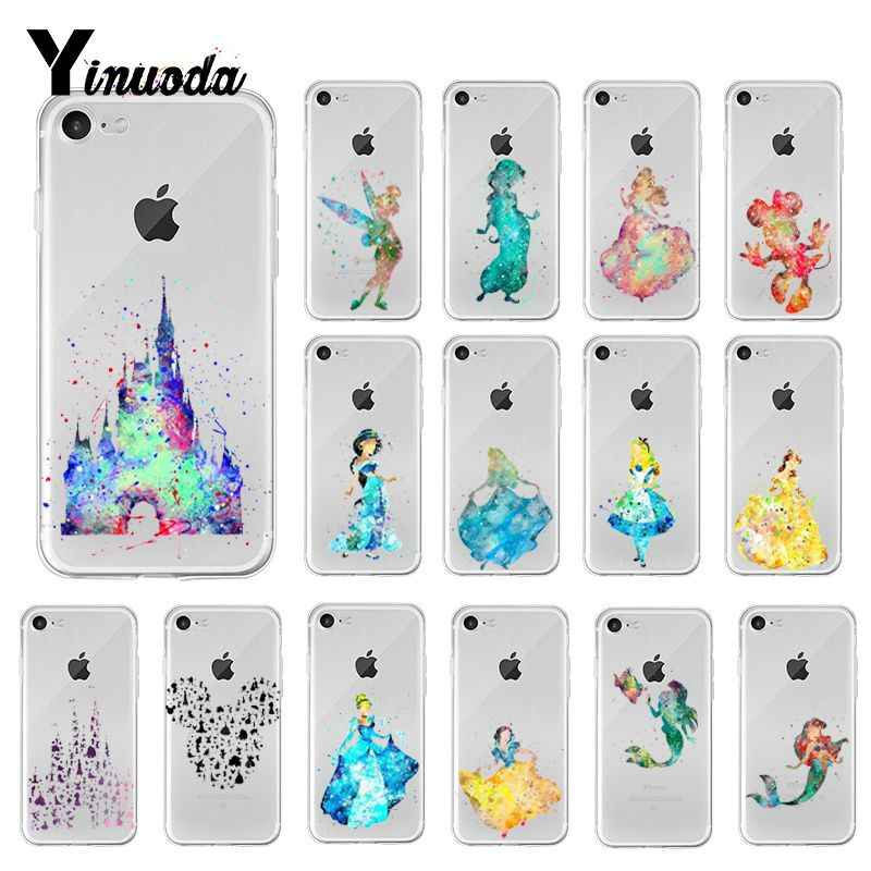 Yinuoda Watercolor princess little mermaid beauty and beast Phone Case for iPhone 8 7 6 6S Plus X XS MAX 5 5S SE XR 10 Cover Cap