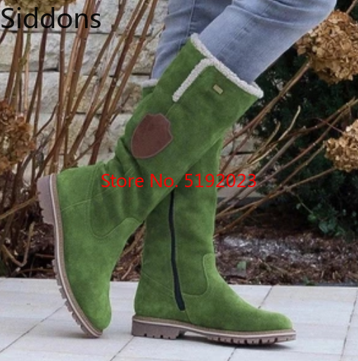 Snow Boots Women Flat Round Toe Woman Leather Shoes Winter Large Size 34 43 Platform Boots