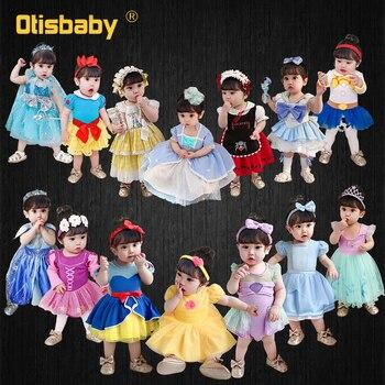Платья для новорожденных девочек; Платье принцессы; Детский комбинезон для маленьких девочек От 1 до 6 лет, Белоснежка, Анна Эльза, Белль кост...