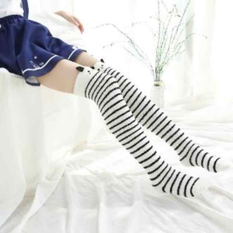 Kış mercan polar uzun uyluk yüksek çorap sıcak örme çorap çizgili sevimli hayvan Panda rahat diz çorap yeni varış
