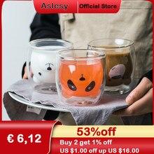 Tasses en verre à Double paroi en forme d'ours, mignonnes, résistantes, Kungfu, tasse à thé, lait, jus de citron, verres, pour les enfants, pour les amoureux du café, cadeau