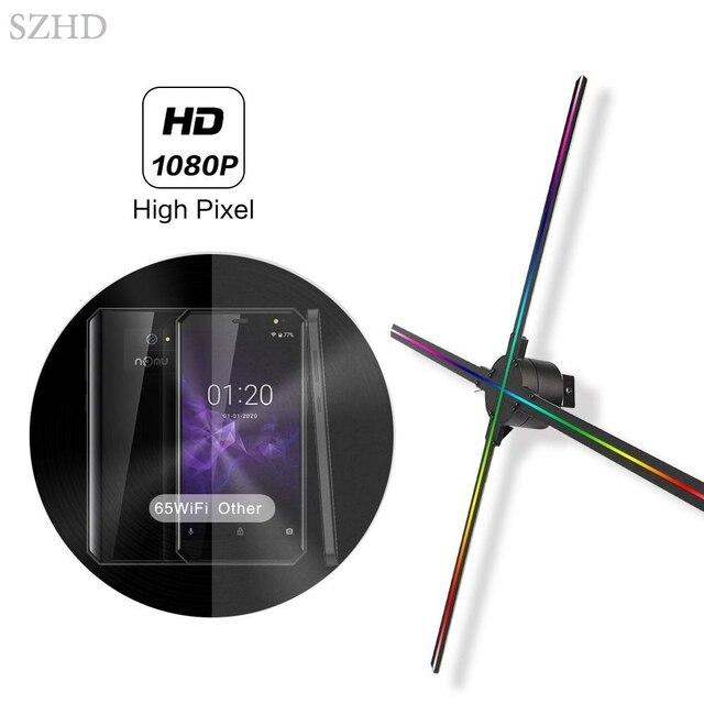 Vente chaude Dseelab WiFi Cloud 3D holographique projecteur hologramme joueur oeil nu LED affichage ventilateur publicité lumière ventilateur led