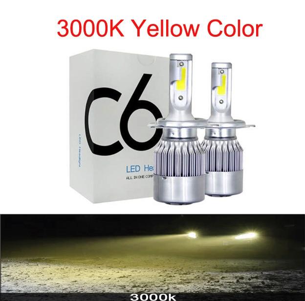 Muxall 2 шт. Blub авто автомобиль H8 H11 H7 H4 H1 светодиодный фары 6000 К холодный белый 72 Вт 8000 лм COB лампы Диоды автомобилей запчасти лампы - Испускаемый цвет: 3000K