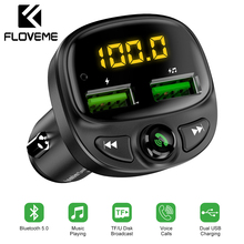 FLOVEME USB Car Charger For Phone Bluetooth Wireless FM Transmitter MP3 Player Dual TF Card Music HandFree Kit