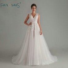 Elegante boho vestido de casamento 2020 com decote em v sem mangas vestido de noiva sem costas vestido de noiva longo