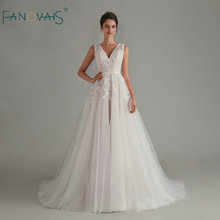 우아한 boho 웨딩 드레스 2020 v 목 민소매 backless 신부 드레스 긴 vestido 드 noiva 로브 드 mariee 레이스 웨딩 드레스