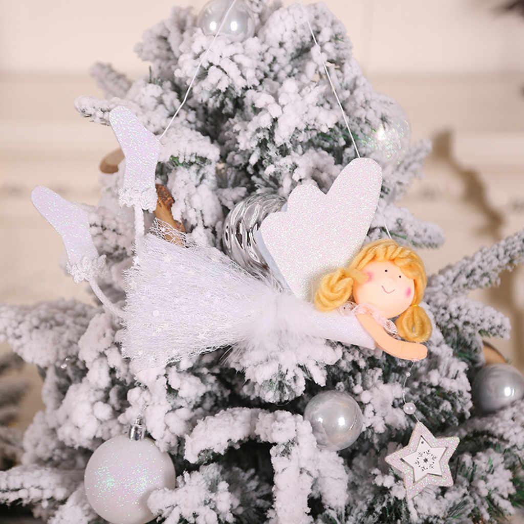 Bonito dos desenhos animados anjo boneca de pelúcia pingente de natal criativo árvore de natal armário pendurado ornamentos decoração da janela presente de natal brinquedo