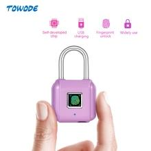 Towode Mini Móc Khóa Sạc USB Vân Tay Thông Minh Khóa Móc Gài Cho Cửa Dấu Chân Khóa Móc Khóa Hộp Ngăn Kéo Tủ Khóa