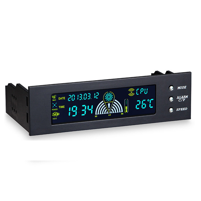 <font><b>5.25</b></font> Inch 12V PC Computer <font><b>Fan</b></font> Controller 3 <font><b>Fan</b></font> Speed Controller Temperature Sensor LCD Digital Display Front Panel For PC image