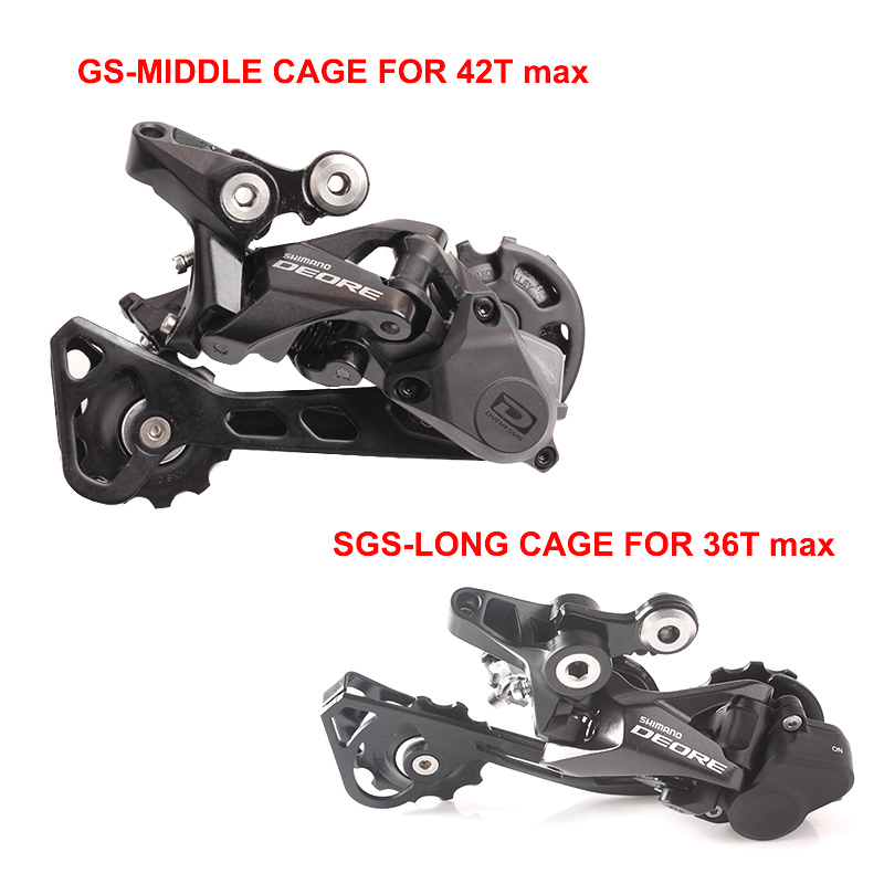 Black New Shimano Deore RD-M592 SGS 9-Speed MTB Bike Rear Derailleur Long Cage