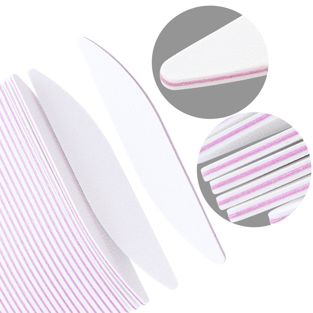 5Pcs Nail Files Polish Sanding Buffer Block White Moon 100/180 Nail Art UV Gel Beauty Buffing Tips Manicure Pedicure Tools LAA25