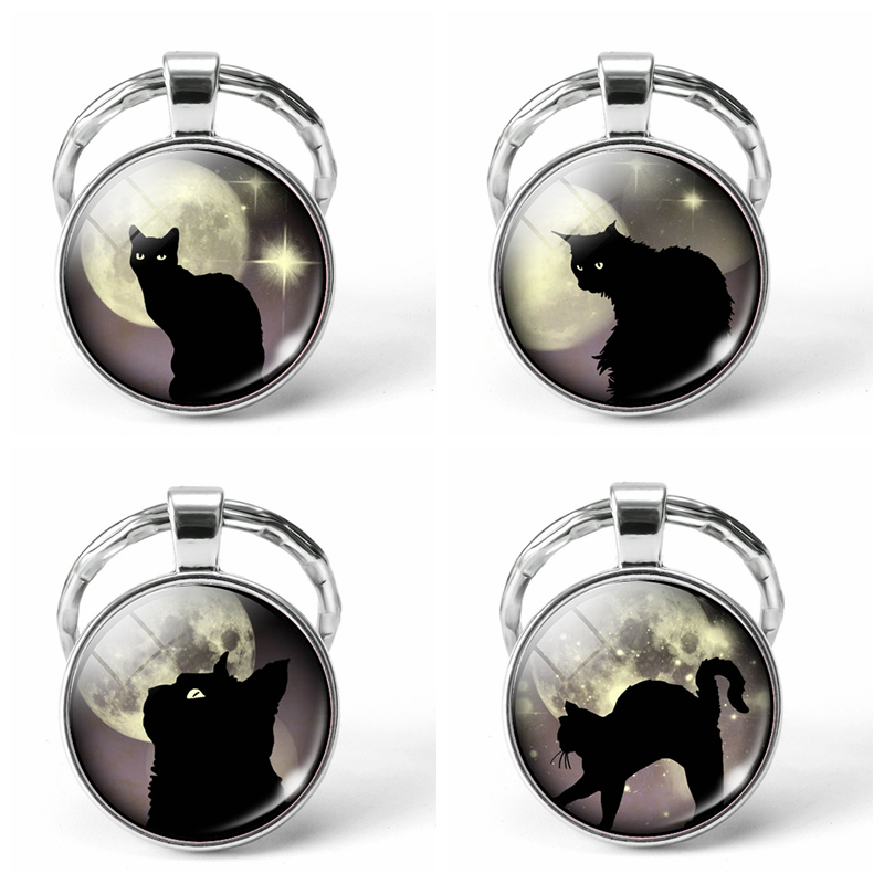 Black Cat Glowing Eyes Full Moon Photo Keyring Glass Dome Animal DIY Keychain Key Ring Pendant Jewelry Fashion Accessories Gifts