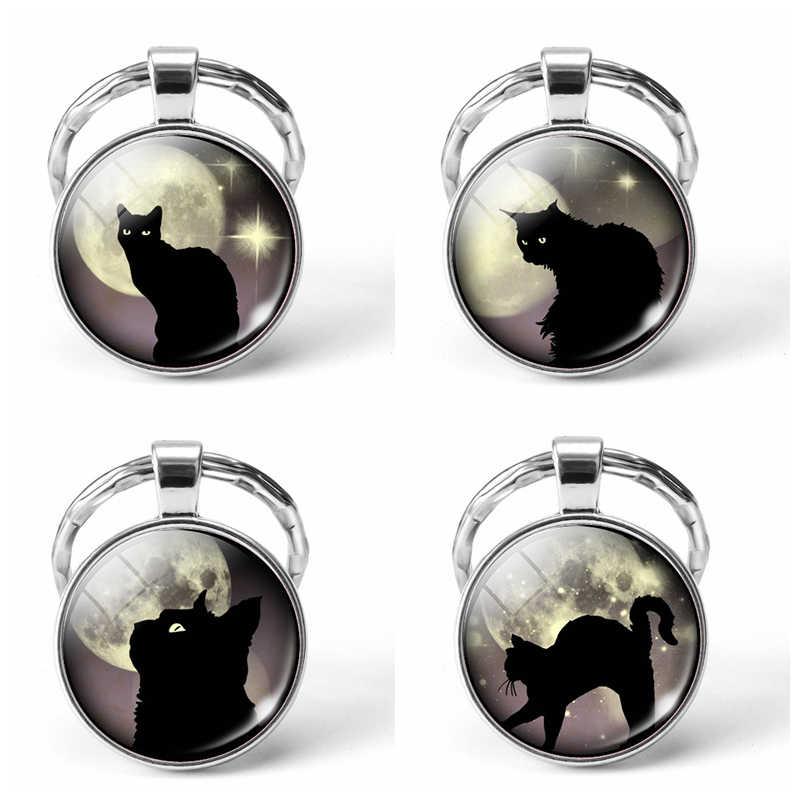 Gato Negro ojos brillantes Luna Llena foto llavero cristal Domo Animal DIY llavero colgante joyería accesorios de moda regalos