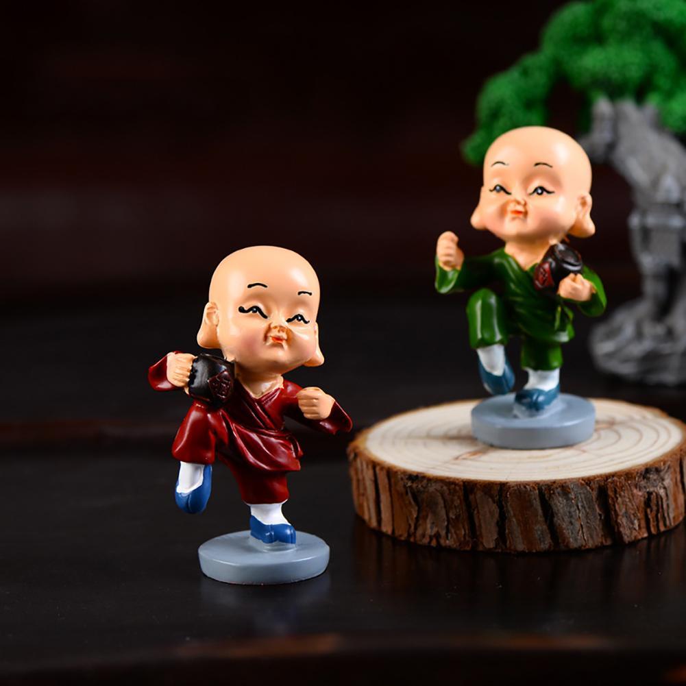 4Pcs Cute Little Monk Kung Fu Toy Figurine Resin Craft Car Desktop Ornaments Car Interior Accessories Miniatures Crafts Creative