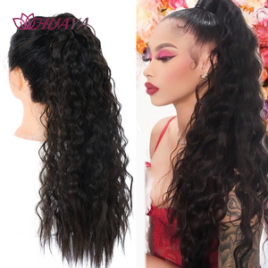 HUAYA Women's Long Wavy Curly Wrap Around Velcro Ponytail Synthetic Wig Golden Black Brown Natural Hair Extensions Ponytail(China)