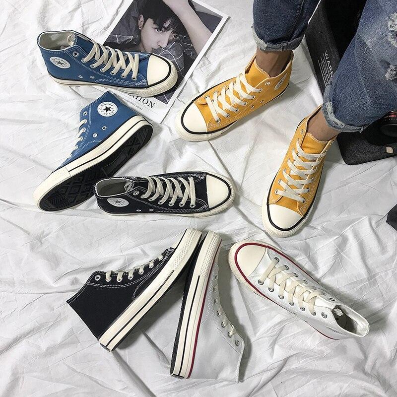 Women's Fashion 2020 Vulcanized Shoes Woman Sneakers New Rainbow Retro Canvas Shoes Flat Fashion Comfortable High Shoes Women