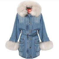 Fox Fur Parka Winter Denim Windbreaker Jacket Cotton Padded Long Coat Women's Loose Detachable Liner Thickened Overcoat