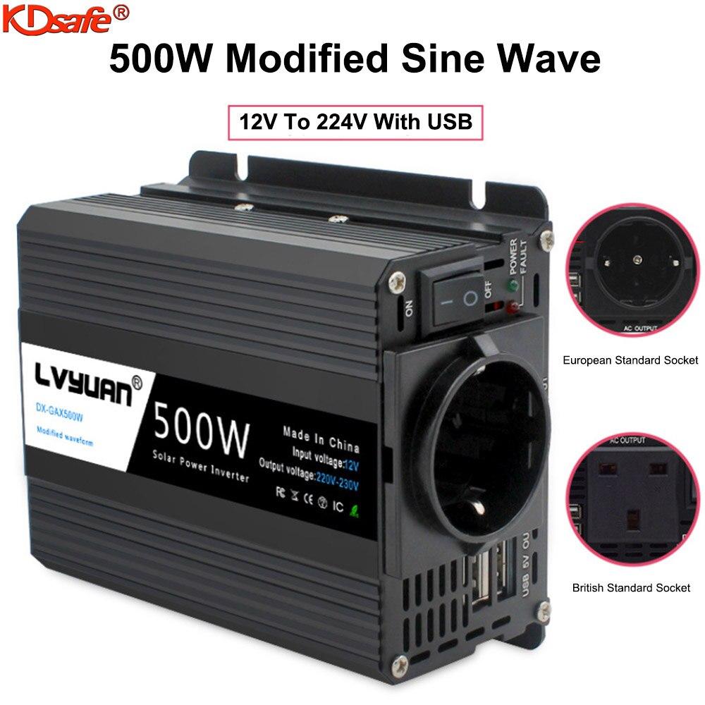 KDsafe EU Socket 500W Car Inverter With Dual USB 12V To 220V Power Inverter Volts Converter Charger Inversor Modified Sine Wave