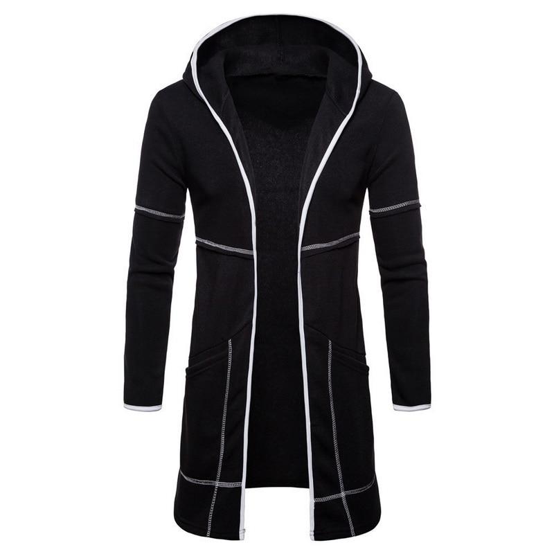 CALOFE Autumn Winter Men Warm Jacket 2019 Long Sleeve Hooded Solid Coat Letter Cartoon Male Clothing   Trench   Streetwear Cardigan
