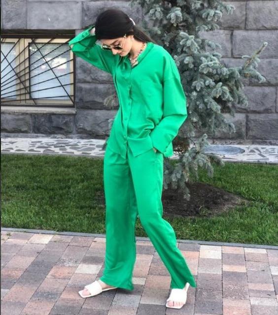 Za 2021 Green High Waist Pants Women Adjustable Elastic Drawstring Waist Vintage Trousers Woman Casual Summer Wide Leg Pants 6