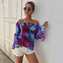Women Sexy One Word Collar Summer T Shirt Fashion Long Sleeve Printed Tops Female Lace Up Trumpet Sleeve Casual Loose Tshirt women sexy lace perspective tops midriff baring tops long sleeves spring summer fashion printed t shirt