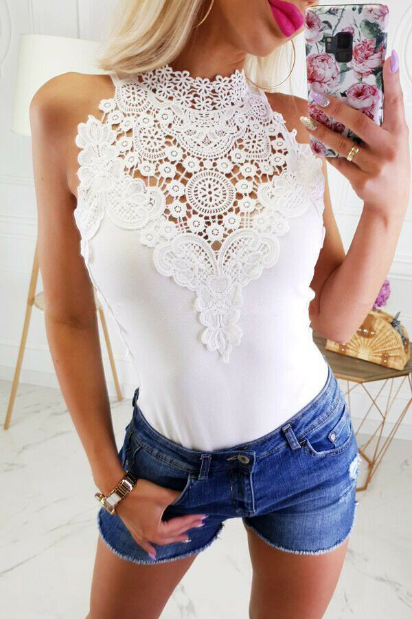 New Fashion Womens Bodycon Bodysuit Lace Flower Off Shoulder Jumpsuit Leotard Tops Skinny Soft Summer Elegant Slim Clothes