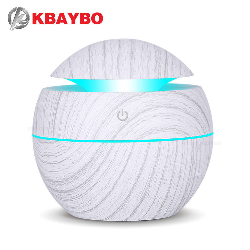 KBAYBO 130ml USB Ultrasonic Cool Mist Humidifier Air Purifier Aroma Essential Oil Diffuser With 7 Color Change LED Night Lights